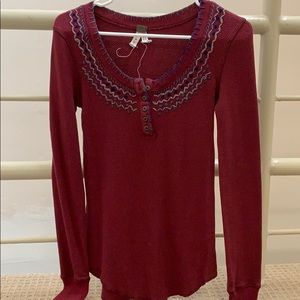 Free People maroon waffle knit top